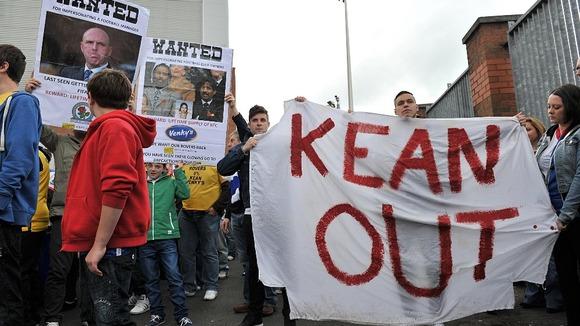 Blackburn fans protest against the club&#x27;s owners Venky&#x27;s and Steve Kean before the  match against Norwich City at Ewood Park last month.