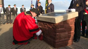 Mayor of Wirral, Cllr Dave Mitchell, lays a wreath at the memorial
