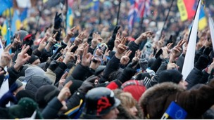 Crowds of protesters in the Ukrainian capital Kiev