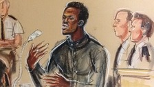 Michael Adebolajo giving evidence at the Old Bailey today