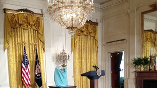 The trophy is under wraps in the White House.