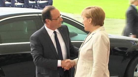 Francois Hollande meets German Chancellor Angela Merkel