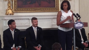 David Beckham with LA Galaxy team mate and First Lady Michelle Obama