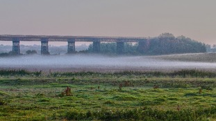 Mist over Bennerley Marsh in Nottinghamshire