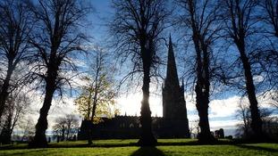 Clear skies over St John's Parish Church in Bromsgrove