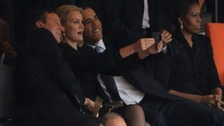 Obama and Cameron's selfie with Danish PM at memorial