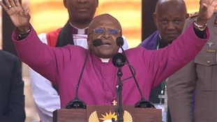 Archbishop Desmond Tutu closed the service with a blessing.