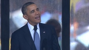 Obama leads Mandela tributes at memorial service.