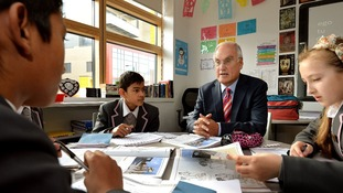 The Head of Ofsted, Sir Michael Wilshaw, visits students at St Paul's Way Trust School in Bow, east London.