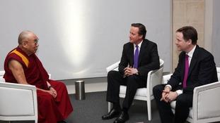 Dalai Lama David Cameron and Nick Clegg
