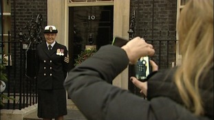 Petty Officer Emily McCullough outside Downing Street.