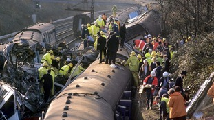 The aftermath of the Clapham Junction crash in 1998, thirty-five people died