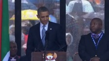 The man stood next to President Obama throughout his address.
