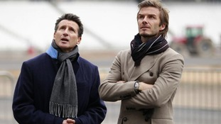 Lord Coe and David Beckham during a visit to the Olympic Stadium in London