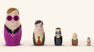 The nesting dolls are hand-painted as five British gay icons