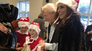 Tony Christie and ITV News Central presenter Sameena Ali-Khan at Morrisons in Walsall