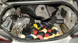 The Heroin was stored in several areas, including the car's spare wheel compartment.