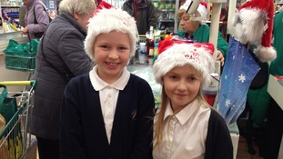 Two of the young volunteers involved in the bag pack event
