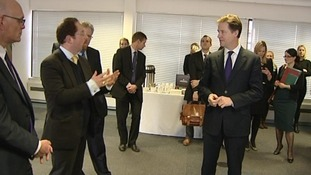 Nick Clegg deep in discussion with Cambridge MP, Julian Huppert.