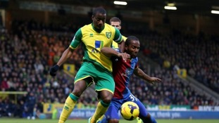 Sebastien Bassong challenges Crystal Palace striker Cameron Jerome.