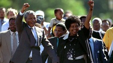Nelson and Winnie Mandela pictured moments after his release from prison on February 11, 1990.