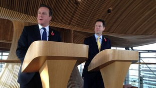 David Cameron and Nick Clegg in the Senedd