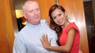 Victim Nigel Blackburn and his fiancée Pranee Rice, who grabbed a knife and ran to his rescue