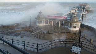 Cromer Pier under siege.