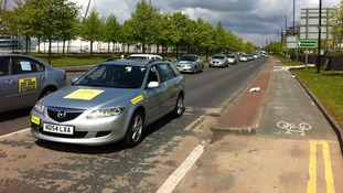Private hire taxi drivers on a 'go slow' protest