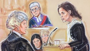 Artist's impression of Elisabetta Grillo (L) giving evidence in court