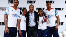 Will Smith (centre) meets (left- right) Drew Sullivan, Yamile Aldama, Perri Shakes-Drayton, and Anthony Joshua.