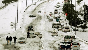 Snow brought traffic to a standstill in Jerusalem