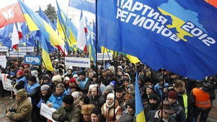 Supporters of President Yanukovych rally in central Kiev.