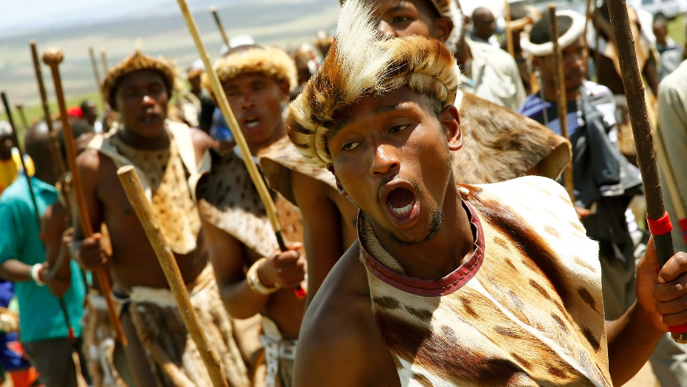 Zulu Warrior Face Zulu Warriors Dance to Honour