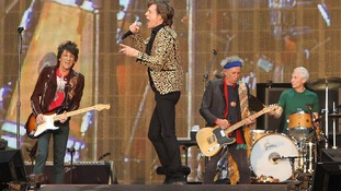 Ronnie Wood, Mick Jagger, Keith Richards and Charlie Watts from The Rolling Stones performing in Hyde Park in London.