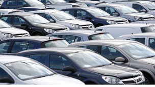 New cars are seen standing outside the Ellesmere Port plant, near Liverpool
