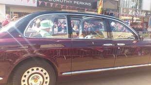 Crowds gathered on the streets of Burnley welcome the royal party