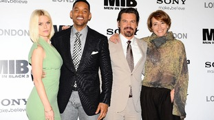 Alice Eve, Will Smith, Josh Brolin, and Emma Thompson at a photocall for new film Men In Black 3D at the Dorchester Hotel in London.