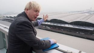 London Mayor Boris Johnson, here visiting Hong Kong International Airport, has his sights set on a new airport for London