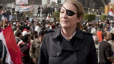 Marie Colvin covering Egyptians&#x27; uprising in Tahrir square, Cairo, Egypt, 04 February 2011