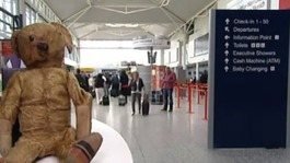 Airport's lost teddy reunited with its family