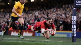 George North crosses the line for Wales against Australia.