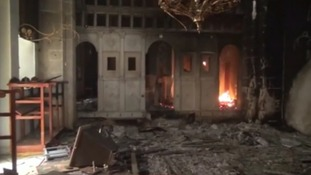 Fires burning in the convent of Saint Takla in Maaloula