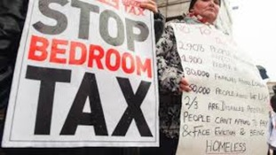 Anti-bedroom tax campaigners protesting in Barnsley
