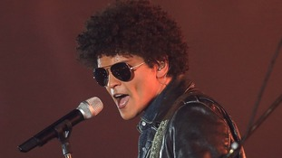 Bruno Mars pictured performing at the 2013 MTV Music Awards held in Amsterdam.