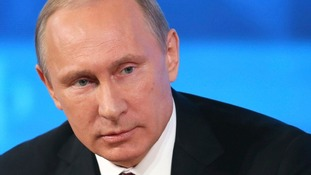 President Vladimir Putin took part in a televised news conference in Moscow.