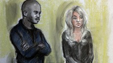 Corut artist sketch of Michael Coombs, aka Mike GLC, and Tulisa Contostavlos.