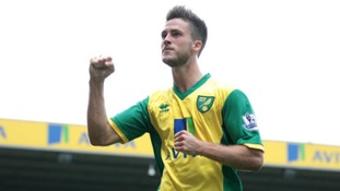 Ricky van Wolfswinkel celebrates scoring against Everton.