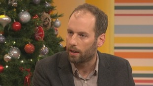 Features writer at The Independent Simon Usborne on the Daybreak sofa.