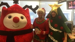 Kian Egan at the Text Santa call centre.